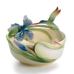Franz Porcelain Long Tail Hummingbird Candy Bowl FZ01361 Retired NIB