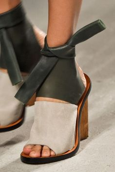 Cute and comfortable leather sandals with heels. Original sandals for fall.