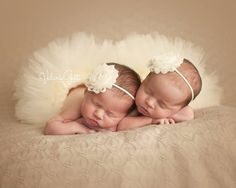 TWIN TUTUS with Skinny Headband Twin Photo Prop by LilPinkGoose