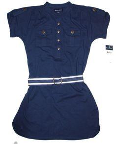 NWT Ralph Lauren Girls Short Sleeves Blue Nautical Striped Belted Dress L 12 14 #RalphLauren #Everyday