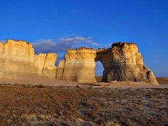 Monument Rocks are a series of large chalk formations in Gove County, Kansas, rich in fossils. It is a National Natural Landmark.