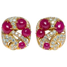 "Seaman Schepps ""Jazz"" Ruby Diamond Gold Clip Earrings 