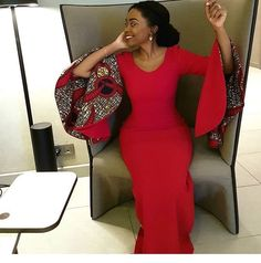 African Print Dress With Flared Sleeves, AfriAnkara Dress, Flared Sleeves, Maxi Dress African Wedding Dress, African Print Dresses, African Fashion Dresses, African Dress, Fashion Outfits, Ankara Dress, Ankara Fashion, African Prints, African Fabric