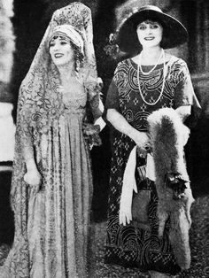 Theda Bara visits Mary Pickford on the set of Rosita (1923)