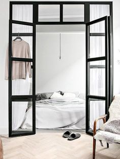 Is To Me | Interior inspiration:stunning black framed glass bedroom doors