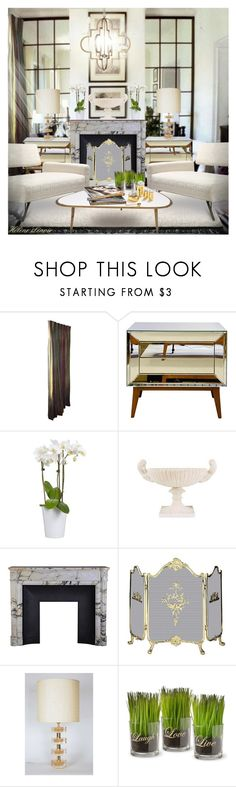 """""""INT.728"""" by helenelenoir ❤ liked on Polyvore featuring interior, interiors, interior design, home, home decor, interior decorating, Worlds Away, Uniflame and National Tree Company"""