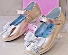 ROBERTO #CAVALLI New $240 GOLD #Girls #Baby Kids Shoes Glamour Ballerinas Size 24EU #RobertoCavalli #BallerinasMaryJaneStyle #Bridemaids