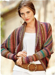 So beautiful!  Kaffe Fassett's whimsical art knit, in colorful pointelle bands, with a wide-ribbed shawl collar, drop shoulders, curved hem and extra-long sleeves.