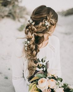 Coiffure De Mariage Description Featured Photographer: India Earl Photography, Featured Hairstyle: Hair and Makeup by Steph Bridal Braids, Wedding Braids, Romantic Wedding Hair, Wedding Hair Flowers, Wedding Hair And Makeup, Flowers In Hair, Hair Wedding, Wedding Vows, Wedding Venues