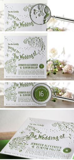 These stunning letterpress wedding invitations were designed from an inspiration image that Jenn from Sydney Australia found and felt in love with... The whimsical touch was created with the fonts and the organic nature of the ornaments that were carefully  hand drawn and then converted into vectors...