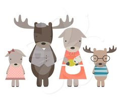 Moose Family Digital Clip Art Clipart Set - Personal and Commercial Use on Etsy, 2,96 €