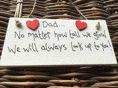 Handmade Cream Wooden Plaque 'Dad - No Matter How Tall We Grow' Gift for Dad,...: Amazon.co.uk: Kitchen & Home Birthday Gift For Him, Unique Birthday Gifts, Boy Birthday, Happy Birthday, Wooden Plaques, Wall Plaques, As You Like, Gifts For Dad, Keep It Cleaner