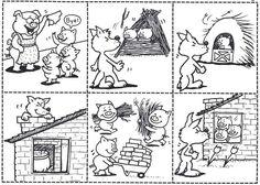 The three little pigs - De drie biggetjes story sequencing Three Little Pigs Houses, Three Little Pigs Story, Sequencing Cards, Story Sequencing, Peppa Pig Coloring Pages, Colouring Pages, Coloring Sheets, Book Activities, Preschool Activities
