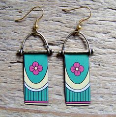 Earrings of recycled vintage tin, Please keep in mind that this is made from a recycled tin container. Scratches, marks, and age are part of the charm of recycled materials.