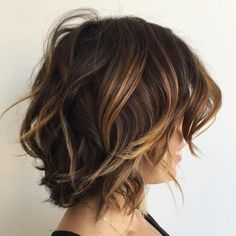 Brown Choppy Bob With Caramel Highlights