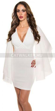 dccae921bc Alkalmi ruha, rövid, angyalszárny hatású ujjakkal - fehér Anyaga: 95%  Polyester /