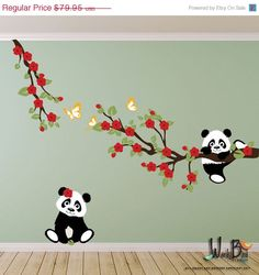 ON SALE Pandas and Cherry Blossom Branches with Butterflies, Panda Decal, Panda Vinyl Wall Decal for Nursery, Kids, Childrens Room on Etsy, $77.28 AUD