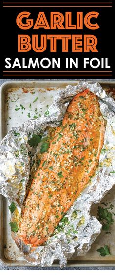 Garlic Butter Salmon in Foil - Easiest tin foil dinner! Simply bake right in your foil packet. Quick, easy, and effortless with seriously zero clean-up! meals shrimp Garlic Butter Salmon in Foil - Damn Delicious Salmon Dishes, Seafood Dishes, Seafood Recipes, Cooking Recipes, Healthy Recipes, Seafood Meals, Dinner Recipes, Sushi Recipes, Rice Recipes