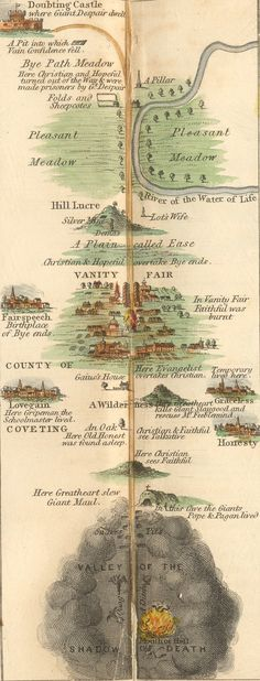 Map of the Pilgrims Progress page 1, Read from bottom up, from destruction to the Celestial City [pg 3]