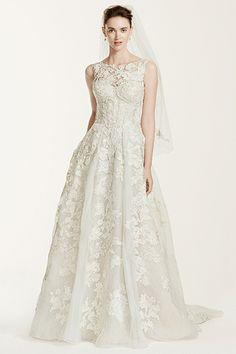 Wedding gown by Oleg Cassini at David's Bridal.