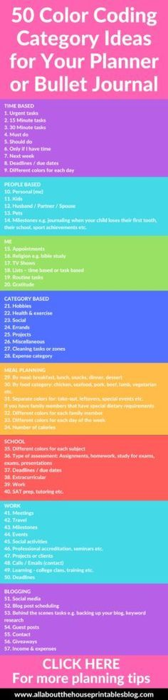 50 category ideas for color coding your planner tips planning inspiration ideas efficient bullet journal bujo key code symbol http://www.allaboutthehouseprintablesblog.com/50-category-ideas-for-color-coding-your-planner/