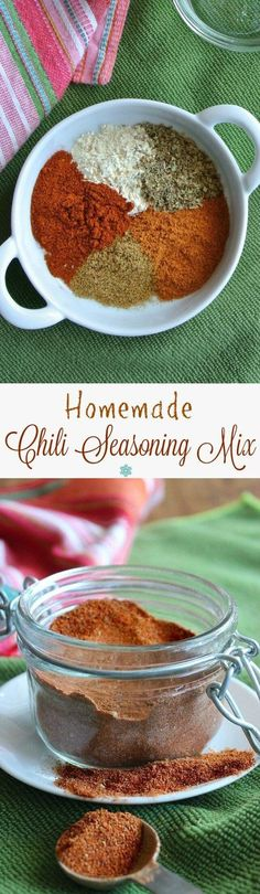 Homemade Chili Seasoning Mix is so easy. Two tablespoons equals one of those pac… Homemade Chili Seasoning Mix is so easy. Two tablespoons equals one of those packets you buy at the store. Use it in chilies, tacos, casseroles, bean patty mixes and more! Homemade Chili Seasoning, Chili Seasoning Mix, Homemade Spices, Homemade Seasonings, Seasoning Recipe, Homemade Chilli Recipe, Chili Recipes, Mexican Food Recipes, Vegan Recipes
