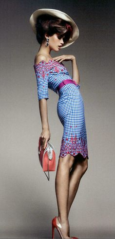 Sara Sampaio by Luis Monteiro for Vogue Portugal (February 2012); Dress: Junko Shimada - Hat: Hoss Intropia - Bag: Louis Vuitton - Shoes: Christian Louboutin 'Bis Un Bout' Red Suede & PVC Pump