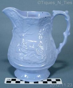 19th Century Epsom Cup Stag  Hound Dog Jug Blue Pottery Pitcher Deer Forest (FF