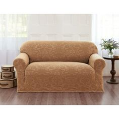 Alcott Hill Velvet Damask Loveseat Cover Color: Beige