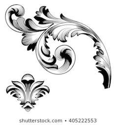 Similar Images, Stock Photos & Vectors of Vintage baroque ornament. Baroque Frame, Motif Baroque, Tattoo Sleeve Designs, Sleeve Tattoos, Filigrana Tattoo, Baroque Ornament, Filagree Tattoo, Osiris Tattoo, Gravure Metal