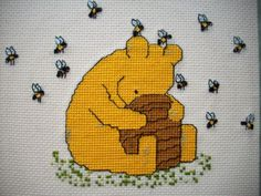 Winnie-the-Pooh-honey-pot-finished-cross-stitch-with-mat