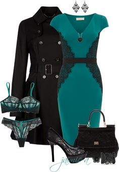 """Teal & Black Lace"" by jaimie-a on Polyvore"