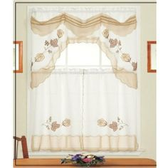 """Daniel's Bath & Beyond Daleen Beige Kitchen Curtain Set by HLC.ME. $7.99. Daniel's Bath & Beyond Daleen Beige Kitchen Curtain Set - Our Kitchen Curtains are expertly tailored and add an elegant touch to any Kitchen. (Curtain Rods Not Included) Fabric Made of 100% Polyester Wash Warm separately, Gentle Cyle No Chlorine Bleach Line or Tumble Dry Medium Iron. What's Included: 1x Daniel's Bath & Beyond Daleen Beige Kitchen Curtain Swag Valance 36"""" x 60"""" Inches (top curtain..."""