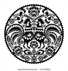 Polish Folk Art Floral Round Embroidery With Roosters, Traditional Pattern - Wycinanki Lowickie Stock Illustration - Image: 93029086 Hungarian Embroidery, Folk Embroidery, Floral Embroidery, Embroidery Patterns, Polish Embroidery, Vector Pattern, Pattern Art, Art Patterns, Hahn Tattoo