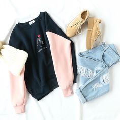 Color Block Letter Heart Embroidery Sweatshirt - fashion The Effective Pictures We Offer You About outfits para salir de noche A quality picture ca - Party Outfits For Women, Teenage Outfits, Teen Fashion Outfits, Mode Outfits, Outfits For Teens, Trendy Outfits, Fall Outfits, Ootd Fashion, Fashion Ideas