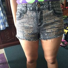 Bebe Studded Dark Wash Shorts These are true beauties  the studs on the back don't fall off easily but the ones in the front do  it gives it a unique look ❤️  no trades, no holds, no PayPal  smoke free, pet free home  let me know if you have any other questions  PLEASE MAKE OFFERS THROUGH THE OFFER BUTTON. IF I AM OKAY WITH YOUR OFFER I WILL LOWER TO THAT PRICE OR CREATE A NEW LISTING PRICED MUCH HIGHER FOR YOU TO HELP YOU SAVE ON SHIPPING  bebe Jeans