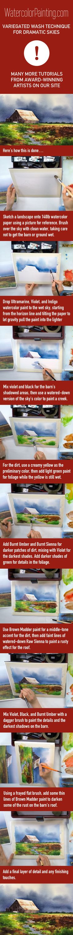 Click here for free full tutorial: http://bit.ly/1klnOfY  Includes video. Learn how to paint a dramatic landscape & sky using variegated washes and other watercolor techniques, step-by-step. Various beginner, intermediate & advanced watercolor techniques are taught as you follow along with this watercolor project. #paintingideas