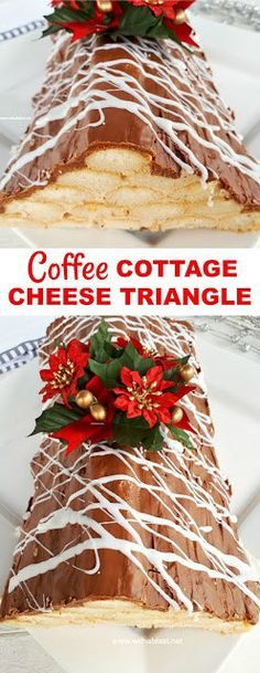 Coffee Cottage Cheese Triangle - Sooo easy to make ! Light Coffee dessert, perfect for after a rich meal - serve chilled or frozen Holiday Baking, Christmas Baking, Frozen Christmas, Christmas Time, Merry Christmas, Light Desserts, Easy Desserts, Delicious Desserts, Best Dessert Recipes