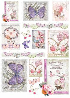 "Motiv-Strohseide ""Vintage Butterflies"""