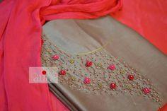 Embroidery Suits Punjabi, Embroidery On Kurtis, Hand Embroidery Dress, Kurti Embroidery Design, Embroidery Neck Designs, Bead Embroidery Patterns, Beaded Embroidery, Salwar Neck Designs, Kurta Neck Design