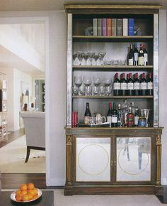 Idea for a future kitchen - bookshelf as bar or extra storage. Home Bar Design Ideas - How To Set Up a Home Bar - House Beautiful Mini Bars, Bookshelf Bar, Bookshelf Decorating, Decorating Ideas, Library Shelves, Decor Ideas, Organizing Bookshelves, Kitchen Bookcase, Rustic Bookshelf