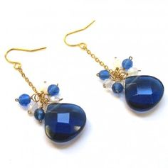 Sapphire Blue and Opal Quartz Earrings #totsy