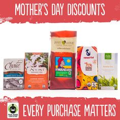 Have you bought mom her Mother's Day presents yet? Check out these discounts on #FairTrade coffee, tea, chocolate, and more!  http://fairtradeusa.org/discounts #MothersDay