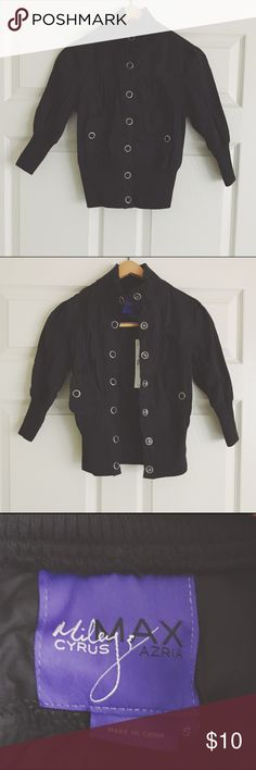 Miley Cyrus & Max Azria | Snap Front Jacket NWT black snap front jacket. Junior size small. Shell is 100% cotton and trim is 100% polyester. Miley Cyrus & Max Azria Jackets & Coats