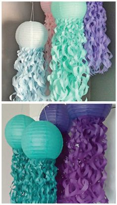 Mermaid Party: Top 10 ideas for a perfect bash under the sea! Mermaid Theme Birthday, Little Mermaid Birthday, Little Mermaid Parties, Girl Birthday, Under The Sea Theme, Under The Sea Party, Fete Marie, Fish Lanterns, Mermaid Baby Showers