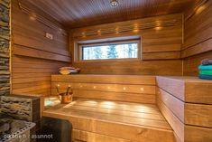 Myynnissä - Omakotitalo, Harvoilanmäki, Hämeenlinna: 6h+k+kph+s+khh+2wc+wc/kph+parv+terassi - Honkarinne 21, 13270 Hämeenlinna - Sp-Koti Kii... Finnish Sauna, Painted Doors, Home And Living, Cosy, Project Ideas, Interior Decorating, Cabin, Cool Stuff, Bathroom