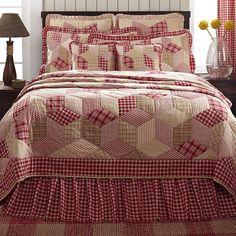 Breckenridge King Quilt  3 pc. Set 100% Cotton Set Red & Cream / Standard Shams #VHC #Patchwork  - Ebay