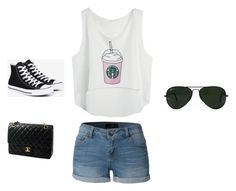 """""""day out"""" by saanvim on Polyvore featuring LE3NO, Converse, Ray-Ban and Chanel"""