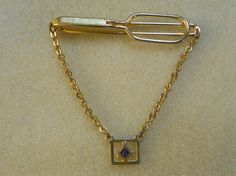 SWANK Tie Clip with Masonic Symbol on Chain by AprilSnowJewelry, $14.00