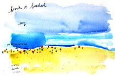 mer méditerranée • watercolor sketch Watercolor Sketch, Watercolor Landscape, Watercolor Illustration, Watercolour Painting, Watercolor Tattoo, John Singer Sargent, Small Words, Letterpress, Journaling